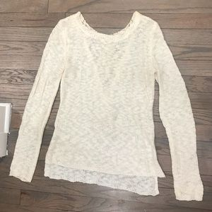Cream Sweater w Lace Detail